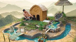 Build Mud House For Abandoned Puppies And Fish Pond For Red Fish