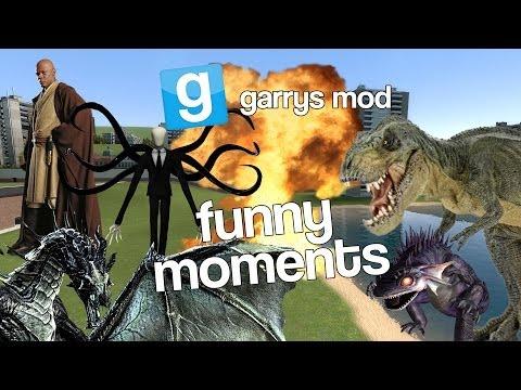 Gmod Funny Moments - Skyrim Dragon, Slenderman, Flying T-rex, Lightsaber Duels!