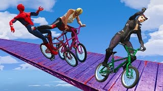Video EXTREME RACES! (Funny Superhero Contest Videos w/ Harley Quinn Joker Spiderman BMX CARS Motorcycles) MP3, 3GP, MP4, WEBM, AVI, FLV Mei 2017