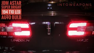 Review and Installation of the JDM ASTAR Extremely Bright 194 168 2825 W5W T10 LED Bulbs in Brilliant Red (https://goo.gl/hdzaVz).  Using these normal Interior use LED's for converting my car's tail lights from generic cheap bulbs, to these Super Bright Red 194 LED's from JDM ASTAR.  My 2007 Lincoln MKZ originally had clear filament bulbs, which I switched to budget 194's for testing.  After numerous failures across all 8 of the tail light bulbs, I decided to use something a bit more reliable and found these JDM Canbus Error Free 3014 Chipsets LED Bulb's to have an excellent reputation for LED performance and lifespan.Check out Below for Helpful Links and More LED Conversion Videos!In this video review, I also show how to remove old automotive rear lights using a trim/fastener removal tool, or by using a DIY clip pry tool made out of a household fork.  Removing the auto fastener clips in the trunk of a vehicle is fairly easy and quick, which gives you access to the area where tail lights, brake lights, reverse lights, and rear turn signals can most likely be accessed.  From there, rotate the old bulb out of the light housing mount, which is usually sealed by an o-ring to prevent moisture buildup inside the light assembly.  Pull the old bulb from its socket, replace it with the new LED Bulb, test to ensure it functions (remove and flip around for polarity of LED bulb and test again if doesn't turn on), install the bulb adapter into the light housing assembly opposite of how it came out, and you should be all set!  JDM ASTAR LED Bulbs work on most all vehicle makes and models, check them out here for a full list of specifications and features:  https://goo.gl/hdzaVz  The JDM ASTAR item number for the brilliant red 194 LED Bulbs are T10-3014-20R and come in a 2-pack.LED Bulbs are beginning to be more widely used throughout cars and trucks around the world.  This is because LED technology has come to a point of providing enough lumens for automotive use, at the same tim