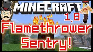 Minecraft 1.8 FLAMETHROWER SENTRY TURRETS Mod ! Defense Blocks Shoot Fire Particles !