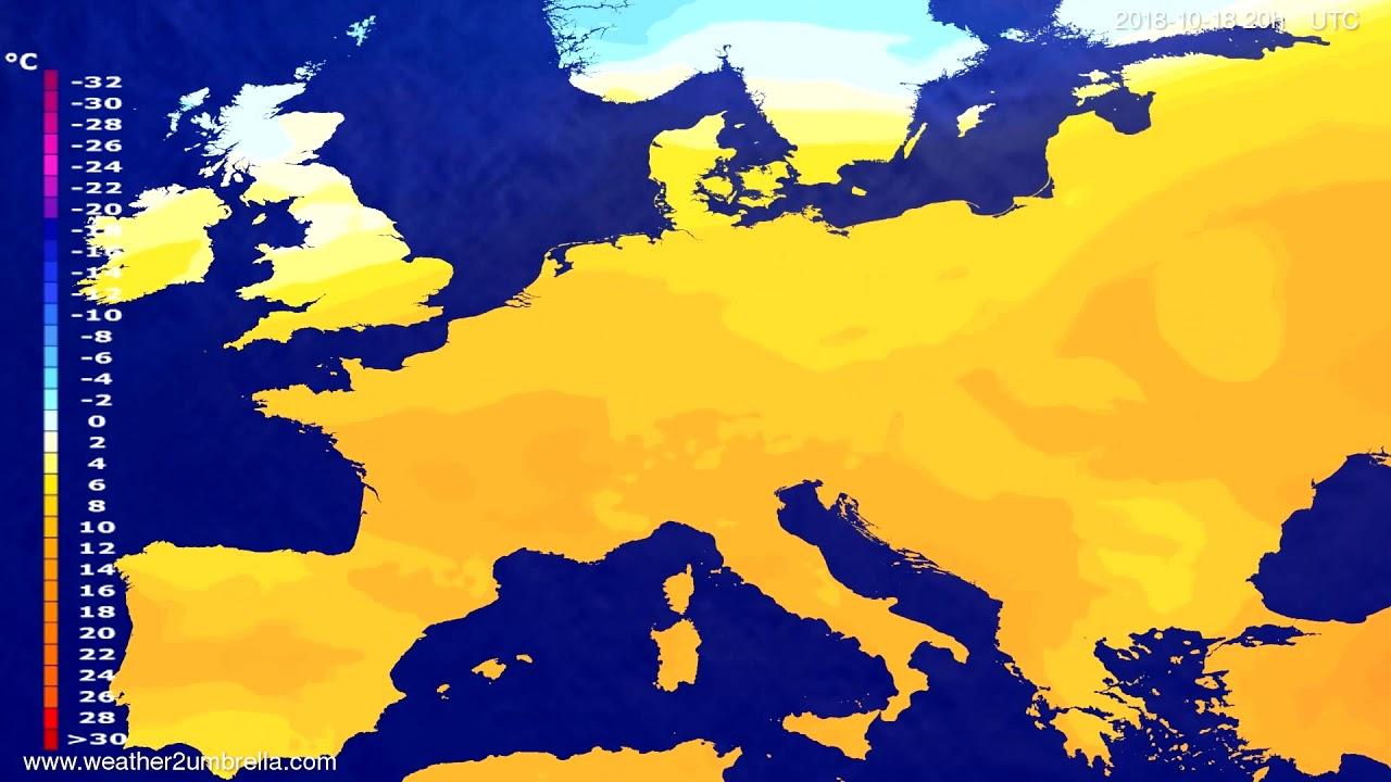 Temperature forecast Europe 2018-10-15