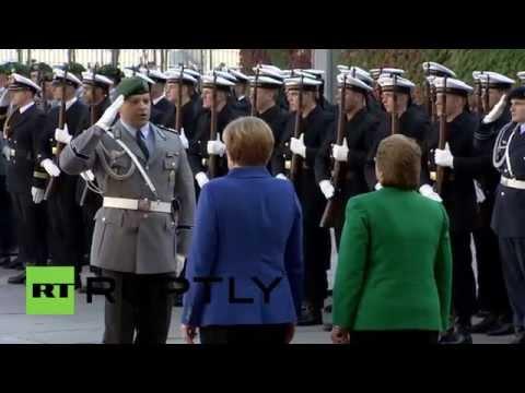 Germany: Watch the German Army salute Merkel and Chilean leader