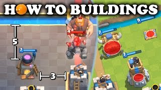 How to use and counter buildings. Optimal building placements showing the differences between spawners and ...