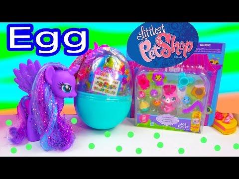 Lisa Frank Easter Egg Surprise + LPS Littlest Pet Shop Toy Unboxing with MLP Princess Luna