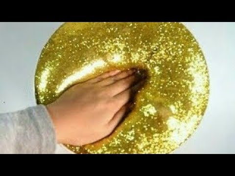 Diy How To Make Slime At Home : Fluffy Gold Glitter Slime
