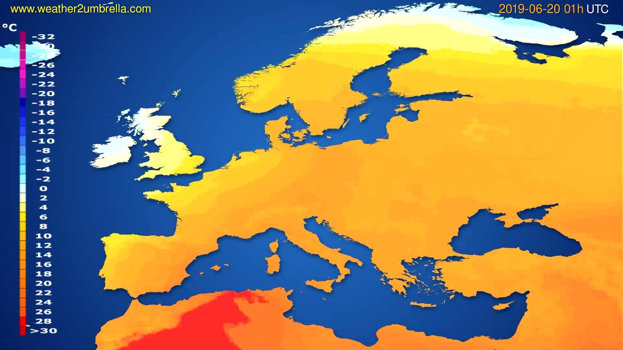 Temperature forecast Europe // modelrun: 00h UTC 2019-06-18
