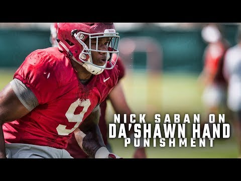 Nick Saban explains why Da'Shawn Hand won't be suspended after DUI arrest