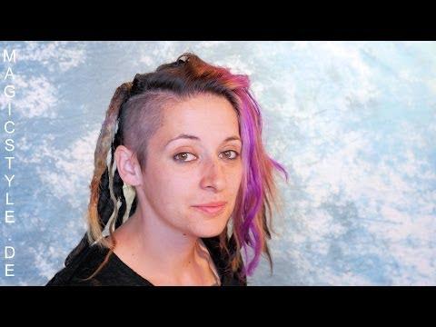 Anna: Nacharbeit von selbstgemachen Dreadlocks plus Einflechten von farbigen Strähnen