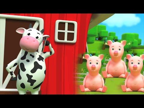 fünf kleine Schweinchen | in Deutsch Reime | Kinder lernen Lieder
