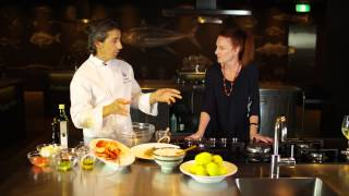 Giovanni Pilu, head chef from Pilu at Freshwater and Roberta Muir from Sydney Seafood School demonstrate how to prepare some simple but indulgent ...
