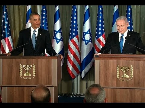 Netanyahu - President Obama and Prime Minister Benjamin Netanyahu of Israel hold a press conference in Jerusalem. March 20, 2013.
