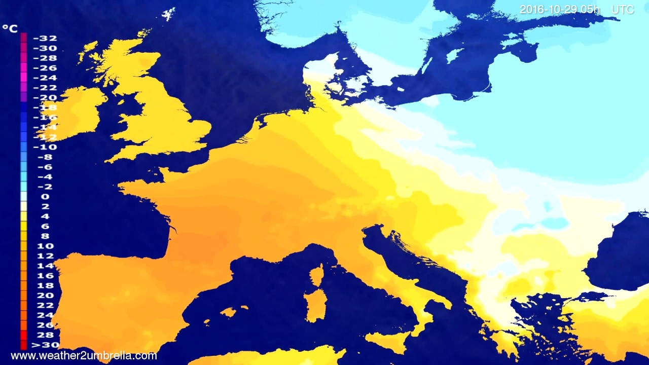 Temperature forecast Europe 2016-10-26