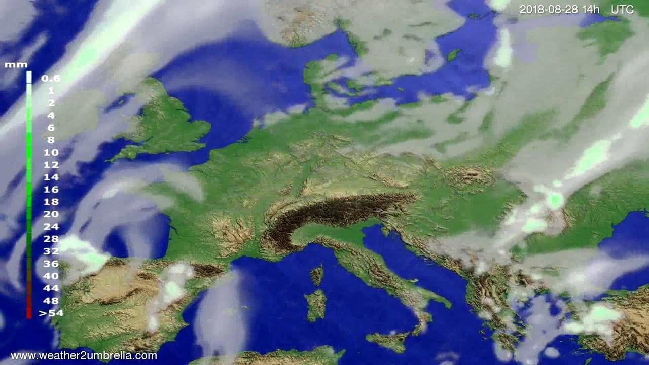 Precipitation forecast Europe 2018-08-24