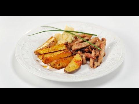 Свинина и картофель с соусом из яблок   Дежурный по кухне - DomaVideo.Ru