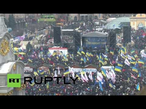 protest - Tens of thousands of demonstrators gathered in Kiev's Independence Square Sunday following the country's decision not to enter an association agreement with ...