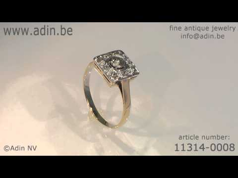 Estate two tone gold and diamonds engagement or pinky ring (11314-0008)
