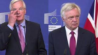 EU Chief Negotiator Michel Barnier & Brexit Secretary David David Press Conference. 19th June 2017.