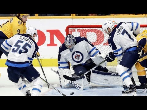 Video: Hellebuyck makes 47 saves en route to game one Jets victory