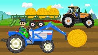 Picking Up Straw Bales | Work on a field - Tractor Story | Zbieranie bel słomy - Bajki Traktory
