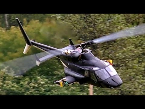 BELL-222 AIRWOLF GIGANTIC SCALE RC TURBINE MODEL HELICOPTER FLIGHT DEMO / Turbine Meeting 2015
