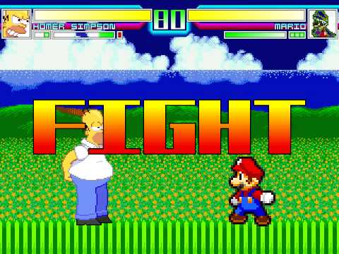 MUGEN battle 1 - Homer vs Mario