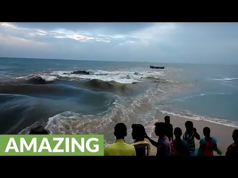 Awesome phenomena where river meets ocean