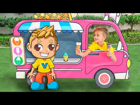 Little driver Niki play with cars and help his friends