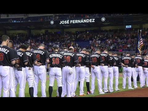 NYM@MIA: Marlins honor Fernandez with a ceremony