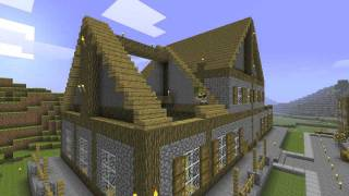 Minecraft Time Lapse - Town Part 7 (Town Hall/ Library)