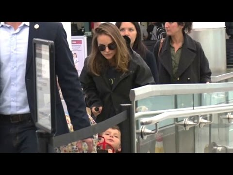 Natalie Portman And Son Aleph Strolling Through LAX
