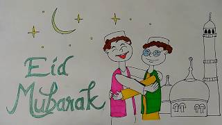 EID mubarak drawings for kids, eid festival drawing, Ramadan Eid Mubarak Drawing 2017