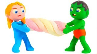 KIDS PLAYING WITH CANDIES ❤ SUPERHERO PLAY DOH CARTOONS FOR KIDS