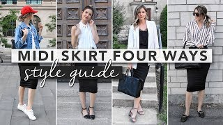 Hi guys, today we're going to be doing a style guide video. I wanted to show you four different ways you could style a midi skirt. We're ranging from casual to date night so you can get an idea of how to style a black midi skirt! I hope you like it and let me know which outfit of the day is your favourite :)E xx ( http://erin-elizabeth.ca )Hi! My name is Erin and I make lifestyle videos! Make sure to subscribe because I upload every single Thursday and Sunday :)Thursdays: LifestyleSunday: StyleIf you enjoy my content then make sure you sign up for some monthly inspiration: http://bit.ly/2iPo7jR ACTUAL ITEMSPattern Blouse: http://bit.ly/2pZRcNiStudded Mules: http://bit.ly/2pZWTuCBlazer: http://bit.ly/2rD6kA9Black Bag: http://bit.ly/2pdafW8SIMILAR ITEMSSkirt: http://bit.ly/2s4IfphJean Jacket: http://bit.ly/2rBC7o9Sneakers: http://bit.ly/2o78zwiLace Tank Top: http://bit.ly/2pQ4L1AWhite Sleeveless Blouse: http://bit.ly/2sGAfa8Sandals: http://bit.ly/2rriEqgBlack Flats: http://bit.ly/2rkwHy2··················································································································Let's be friends :)TWITTER: http://www.twitter.com/eringrahammINSTAGRAM: http://www.instagram.com/erinelizabethhFACEBOOK: https://www.facebook.com/erinelizabet...PINTEREST: https://www.pinterest.com/erinngraham/ SNAPCHAT: eringrahammContact:blogerinelizabeth@gmail.comCamera I use: http://amzn.to/2lCW5JuMusic Provided by NoCopyrightSongsAnikdote & Culture Code - Don't Let It Go (feat. Brado Sanz) https://www.youtube.com/watch?v=HGXtg8JDvZUAnikdotehttp://soundcloud.com/anikdotemusichttp://facebook.com/AnikdotePagehttp://twitter.com/ANIKDOTE_MUSICCulture Codehttp://soundcloud.com/culturecodehttp://instagram.com/culturecodeukhttp://facebook.com/CultureCodeUK