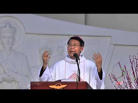 Đức Cha Phêrô giảng lễ hành hương hạt Mỹ Tho 5.2.2016