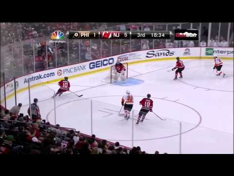 Adam Henrique sweet backhand PPG 5-1 Mar 13 2013 Philadelphia Flyers vs NJ Devils
