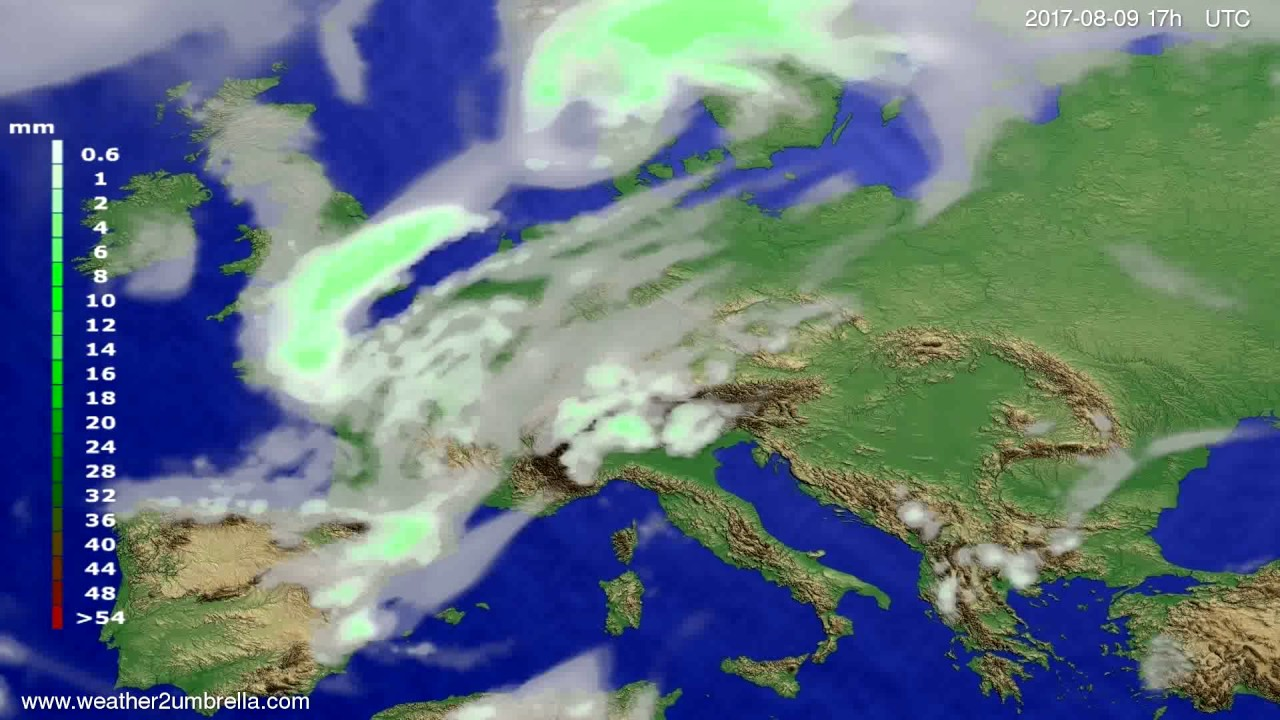 Precipitation forecast Europe 2017-08-07