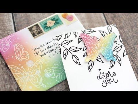 Brush Blended Matching Card & Envelope - Simon Says Stamp April 2018 Card Kit (видео)