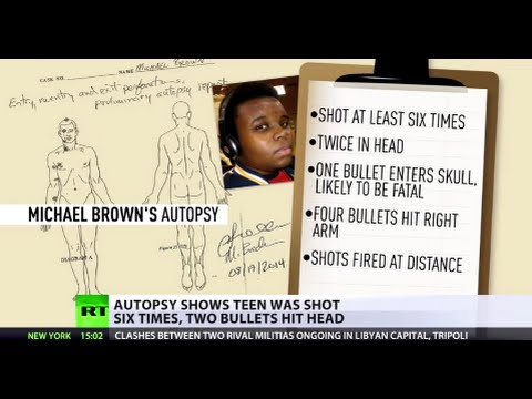 "Shot - The preliminary autopsy results reveal that one of the six shots that struck and killed Michael Brown exited his body near the eye, and ""supports what the witnesses said about him trying..."