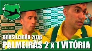 Em partida válida pelo Brasileirão 2016, a equipe do Palmeiras bateu o time do Vitória por 2 a 1. Gols de Cleiton Xavier e Lucas Barrios, pelo Palmeiras; e T...