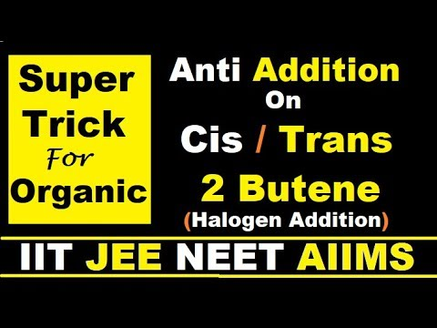 (Super Trick) Anti Addition on Cis/Trans 2 Butene. Stereo-chemical aspects of reaction with Br2 .