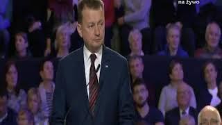 """Błaszczak odczytał list od Kaczyńskiego. """"Dziękujemy Bogu za ojca Tadeusza Rydzyka"""""""