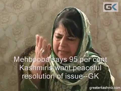 Mehbooba says 95 per cent Kashmiris want peaceful resolution of issue