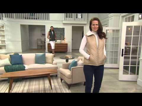 Denim & Co. Zip Front Quilted Vest with Faux Sherpa Lining with Sharon Faetsch