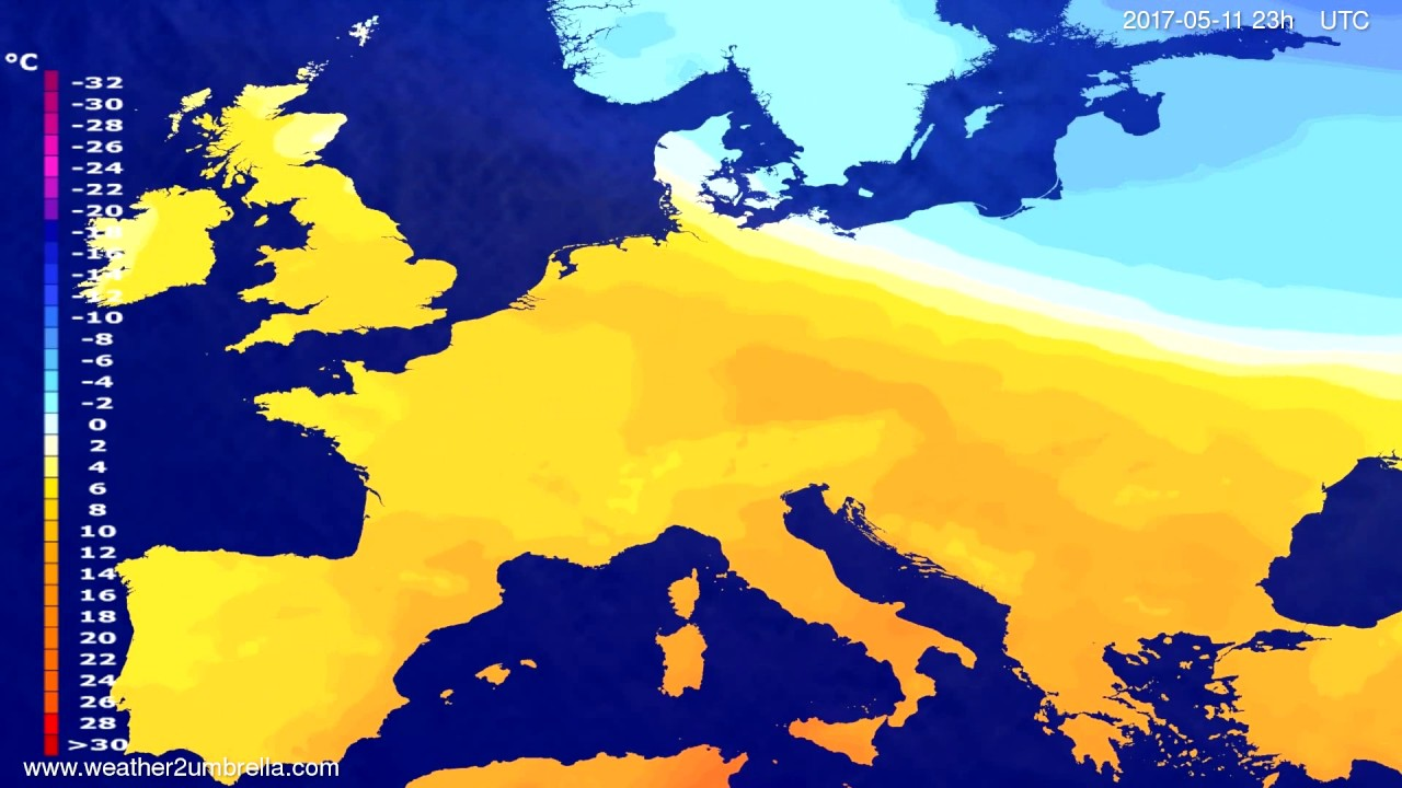 Temperature forecast Europe 2017-05-08