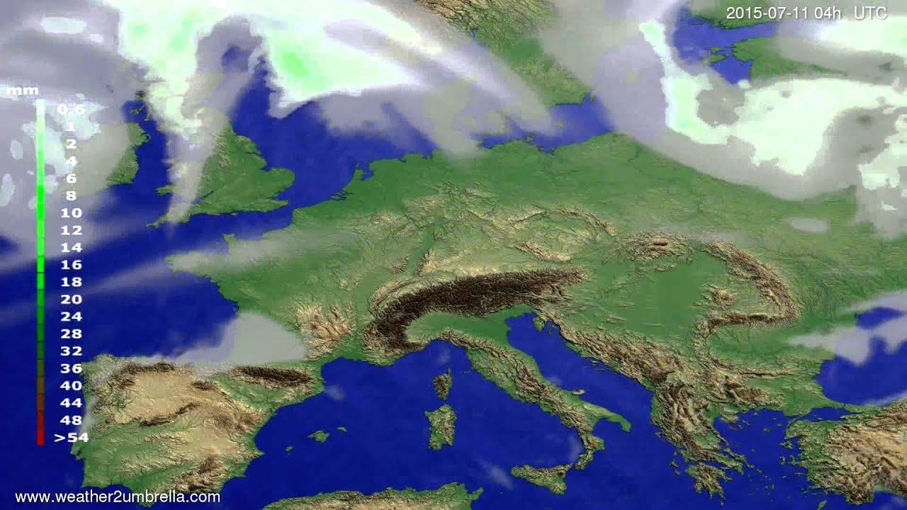 Precipitation forecast Europe 2015-07-07