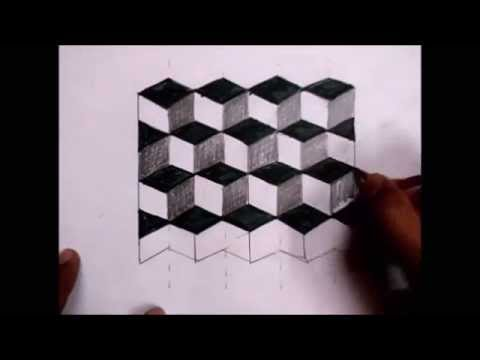 3D Cube Illusion Drawing (Easy)