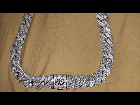 "Shop GLD 22"" white gold 19mm Cuban prong chain unboxing"