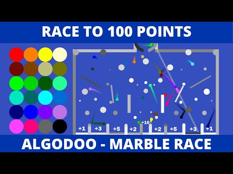 Algodoo Marble Race - Race to 100 Points Plinko