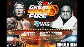 Buenas Gente!! En este nuevo vídeo, tendremos la simulacion del combate entre Brock Lesnar y Samoa Joe en el PPV de WWE de la marca RAW Great Balls of Fire d...